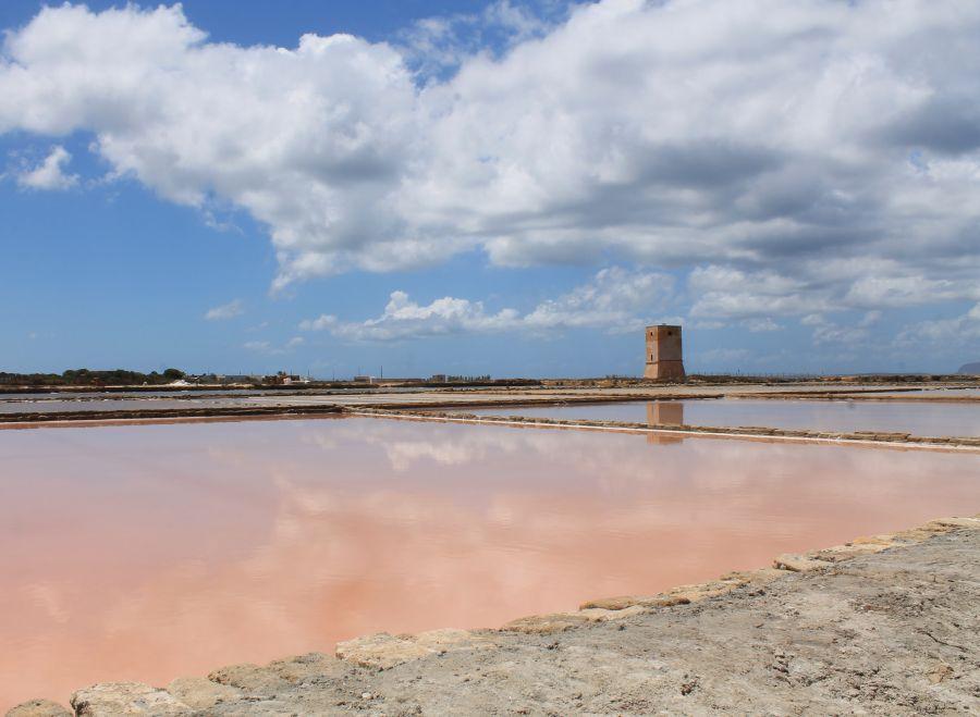Saliny w Trapani, różowe saliny, saline diNubia, saliny w Nubii, Trapani, saliny, saline, Nubia, Trapani, Sicilia, Sycylia, solniczki w Trapani, sól morska